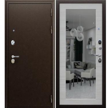 Входная дверь Ратибор Оптима 3К с Зеркалом (Медный антик / Лиственница беж):