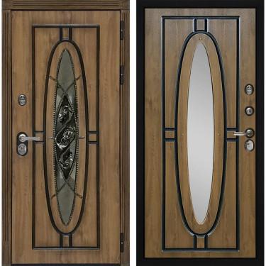 Входная дверь Монарх с окном и ковкой (Дуб темный / Дуб темный)