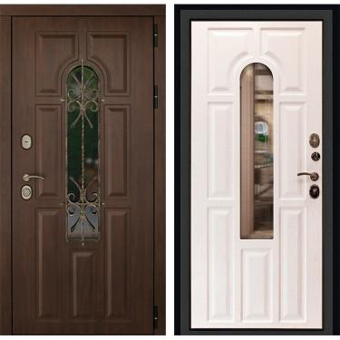 Входная дверь Дверной Континент Лион 3К с окном и ковкой (Орех тёмный /Альберо браш):