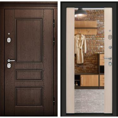 Входная дверь Дверной Континент Сорренто 3К с Зеркалом (Дуб шоколад / Лиственница):