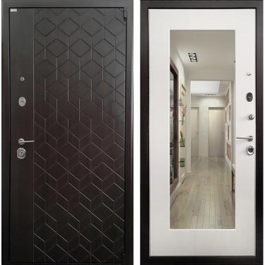 Входная дверь Ратибор Квант 3К с Зеркалом (Эко Венге / Лиственница беж):