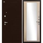 Входная дверь Ратибор Люкс с Зеркалом (Медный антик / Экодуб (Капучино)