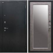 Входная дверь Классик 3К с Зеркалом (Черное Серебро / Бетон Светлый)