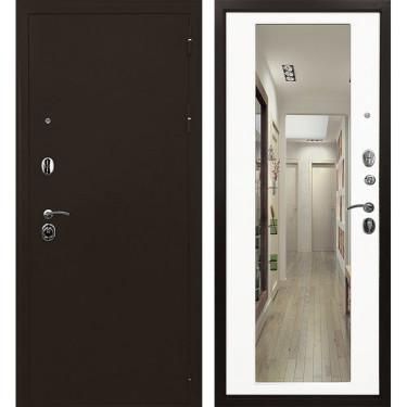 Входная дверь Ратибор Троя 3К с Зеркалом(Медный антик / Белый матовый):