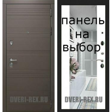 Входная дверь  Рекс-14 ЯСЕНЬ ШОКОЛАД-Внутренняя панель на выбор