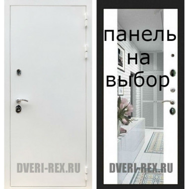 Входная дверь  Рекс-5А БЕЛАЯ ШАГРЕНЬ-Внутренняя панель на выбор